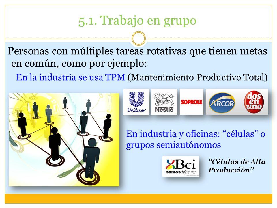 5.1. Trabajo en grupo Personas con múltiples tareas rotativas que tienen metas en común, como por ejemplo: