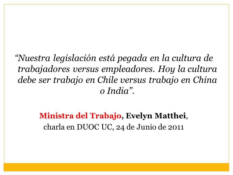Nuestra legislación está pegada en la cultura de trabajadores versus empleadores. Hoy la cultura debe ser trabajo en Chile versus trabajo en China o India .