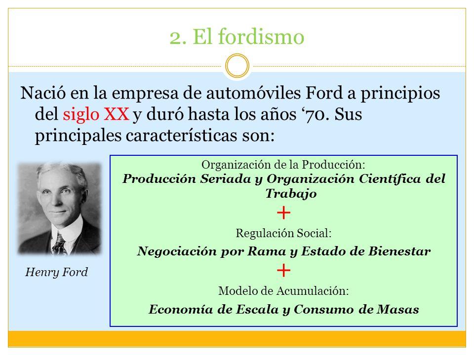 2. El fordismo Nació en la empresa de automóviles Ford a principios del siglo XX y duró hasta los años '70. Sus principales características son: