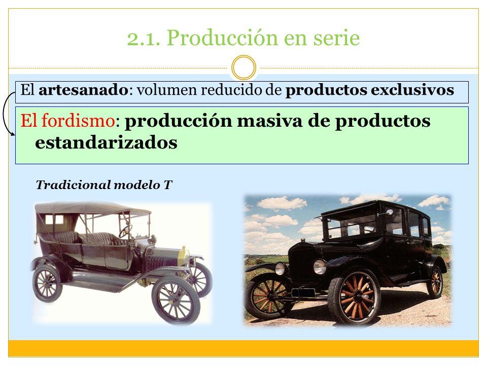 2.1. Producción en serieEl artesanado: volumen reducido de productos exclusivos. El fordismo: producción masiva de productos estandarizados.
