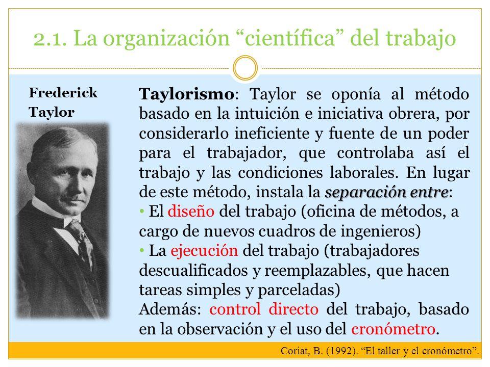 2.1. La organización científica del trabajo