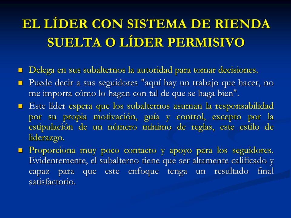 EL LÍDER CON SISTEMA DE RIENDA SUELTA O LÍDER PERMISIVO