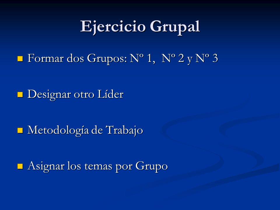 Ejercicio Grupal Formar dos Grupos: Nº 1, Nº 2 y Nº 3