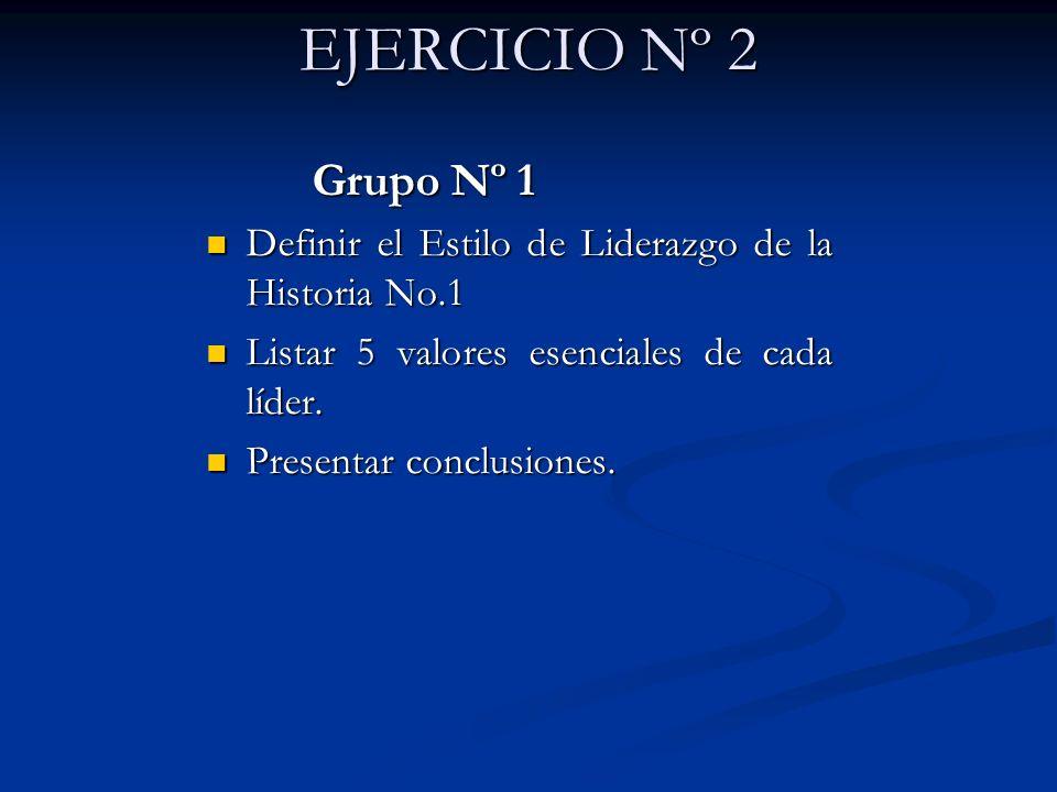 EJERCICIO Nº 2 Grupo Nº 1. Definir el Estilo de Liderazgo de la Historia No.1. Listar 5 valores esenciales de cada líder.