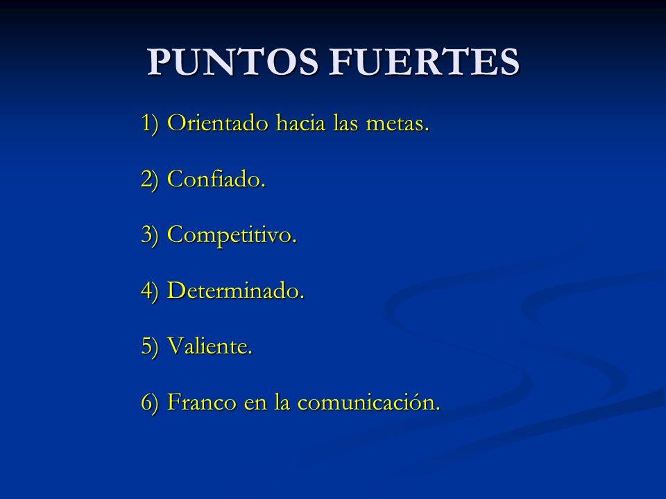 PUNTOS FUERTES 1) Orientado hacia las metas. 2) Confiado.