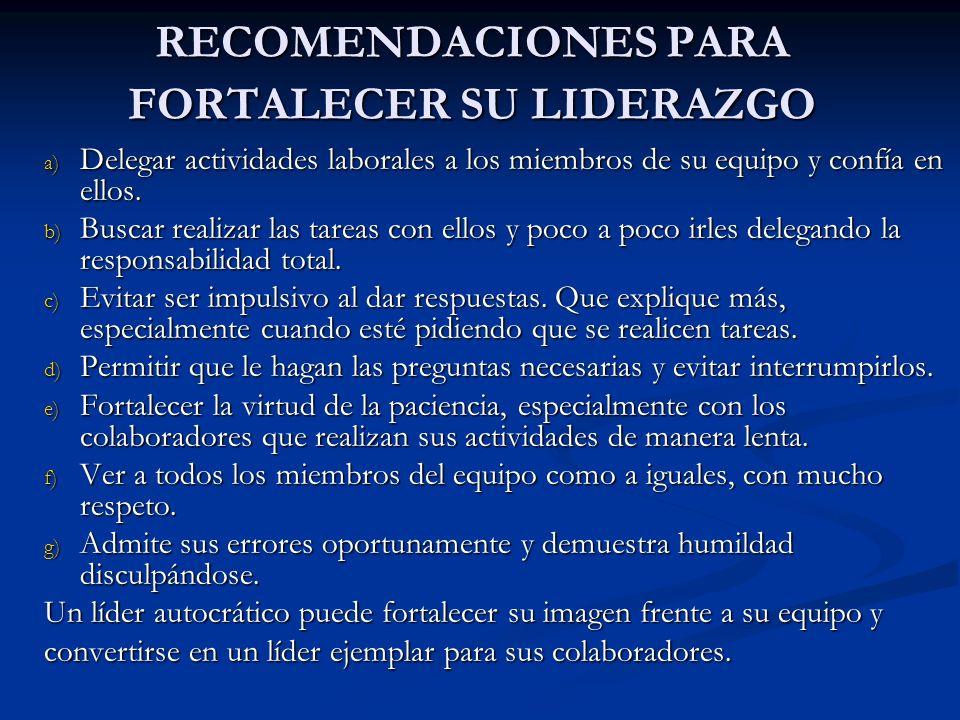 RECOMENDACIONES PARA FORTALECER SU LIDERAZGO