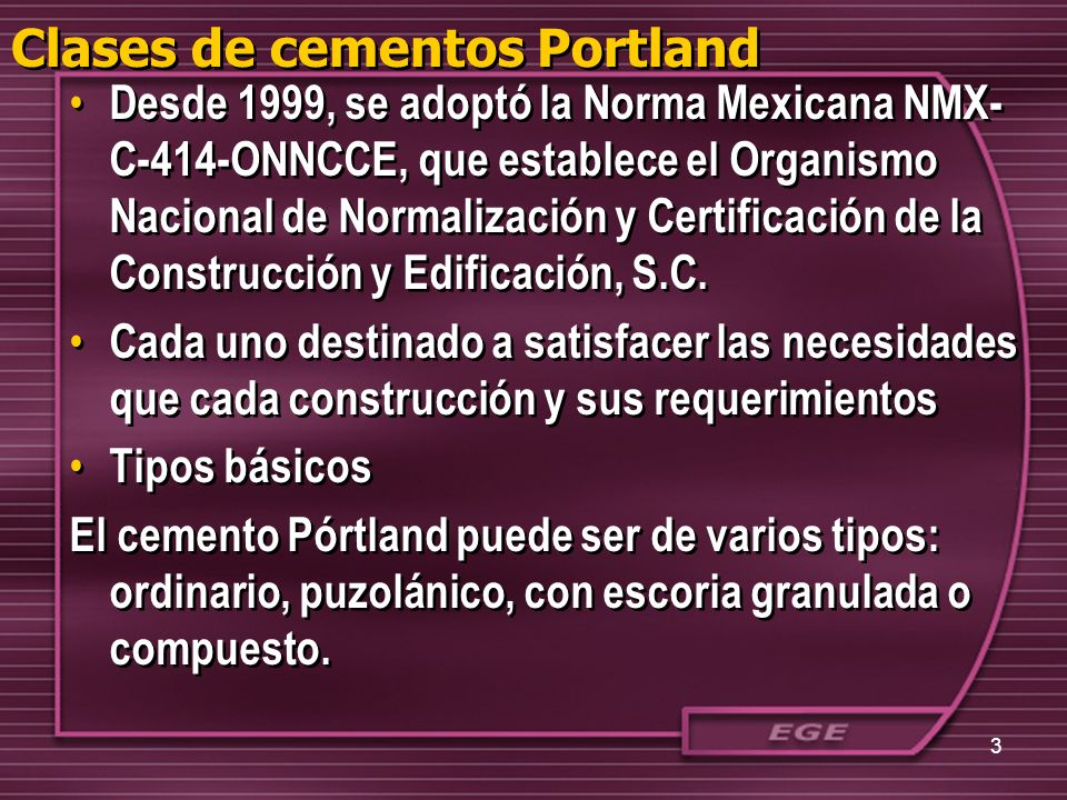 Clases de cementos Portland