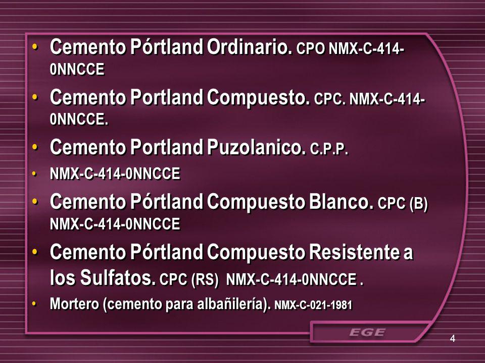 Cemento Pórtland Ordinario. CPO NMX-C-414-0NNCCE