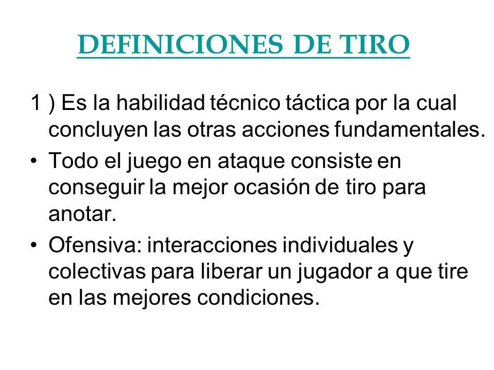 DEFINICIONES DE TIRO 1 ) Es la habilidad técnico táctica por la cual concluyen las otras acciones fundamentales.