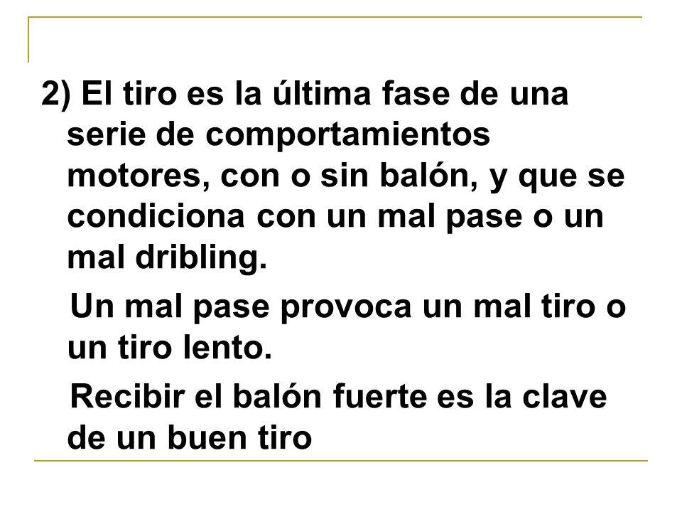 2) El tiro es la última fase de una serie de comportamientos motores, con o sin balón, y que se condiciona con un mal pase o un mal dribling.
