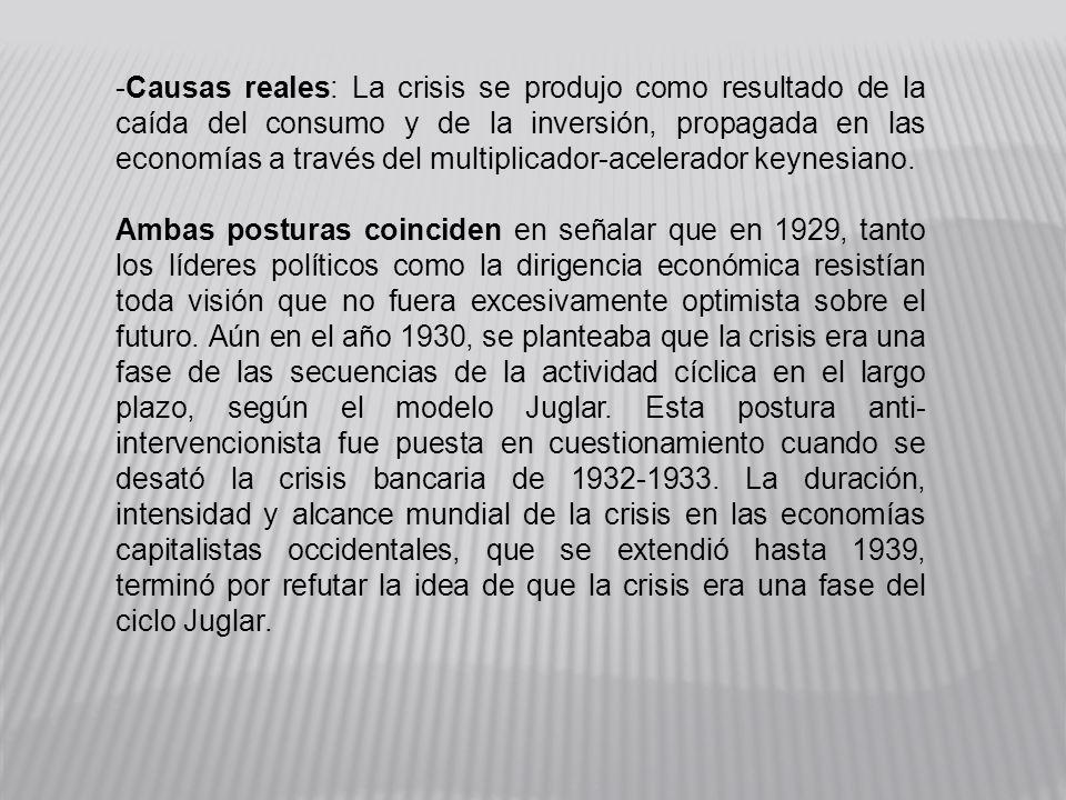 Causas reales: La crisis se produjo como resultado de la caída del consumo y de la inversión, propagada en las economías a través del multiplicador-acelerador keynesiano.