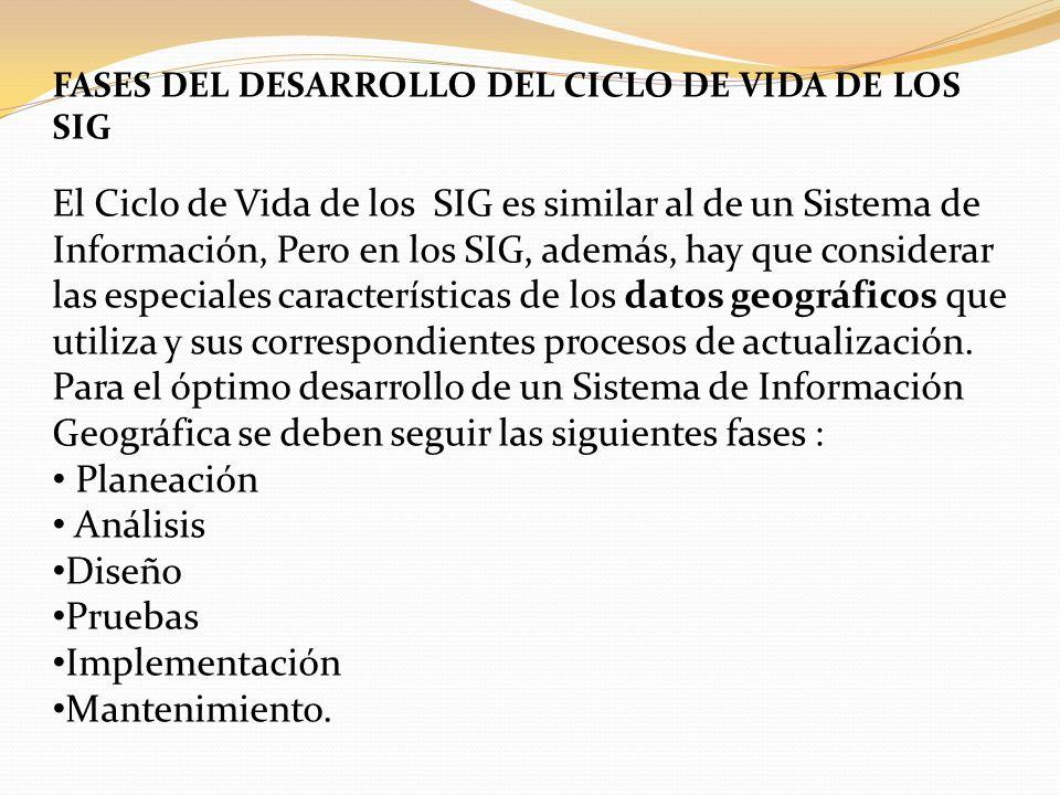 FASES DEL DESARROLLO DEL CICLO DE VIDA DE LOS SIG