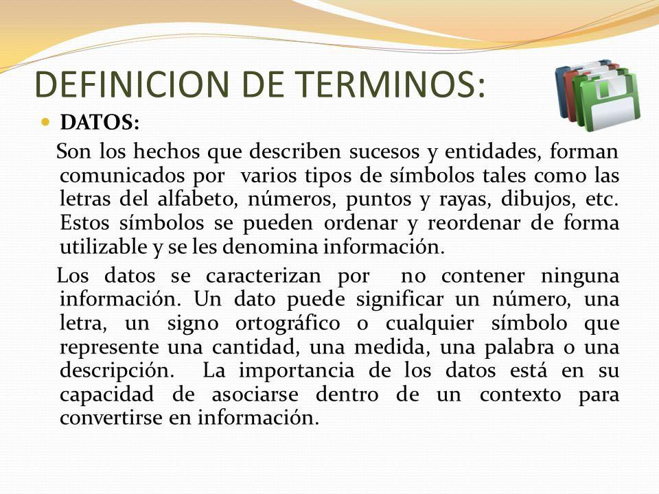 DEFINICION DE TERMINOS: