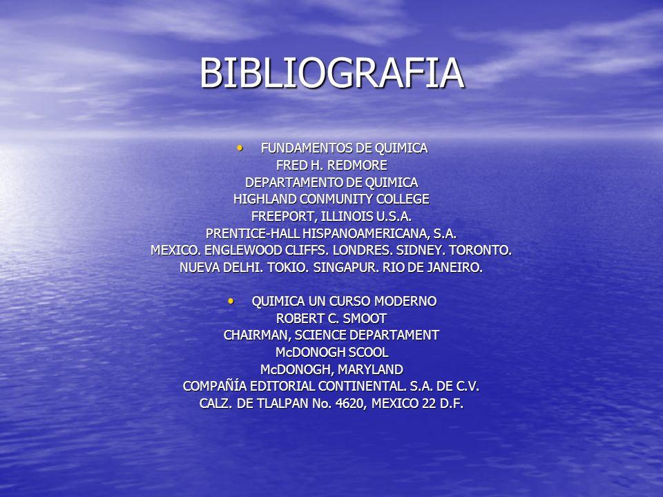 BIBLIOGRAFIA FUNDAMENTOS DE QUIMICA FRED H. REDMORE