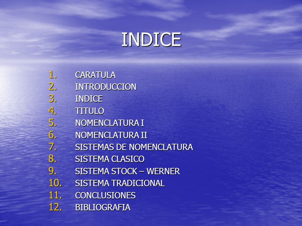 INDICE CARATULA INTRODUCCION INDICE TITULO NOMENCLATURA I