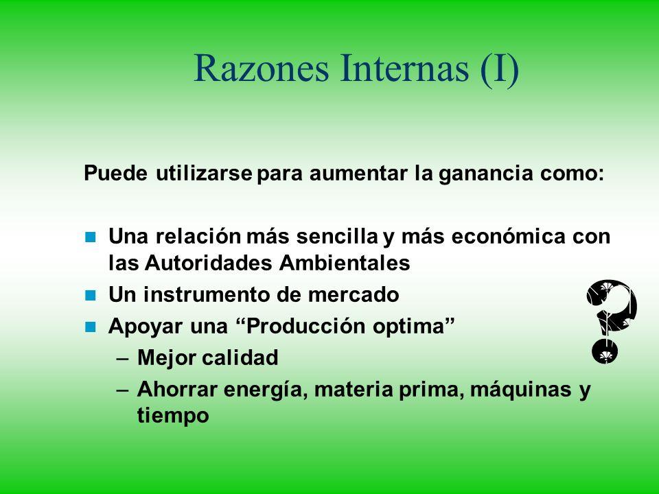 Razones Internas (I) Puede utilizarse para aumentar la ganancia como:
