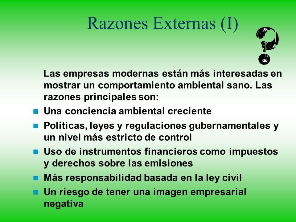 Razones Externas (I) Las empresas modernas están más interesadas en mostrar un comportamiento ambiental sano. Las razones principales son: