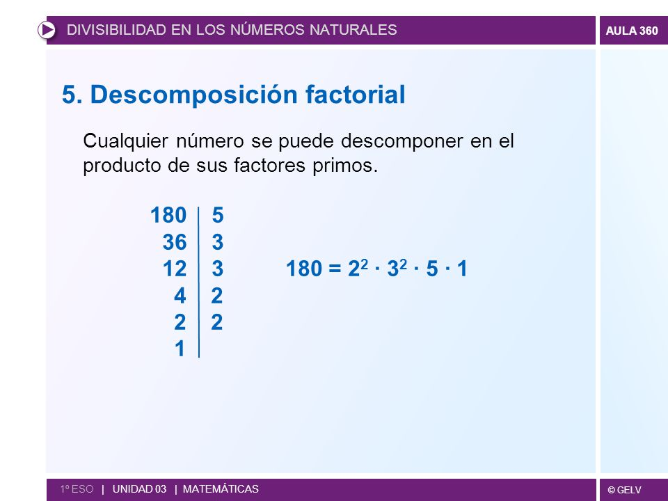 5. Descomposición factorial
