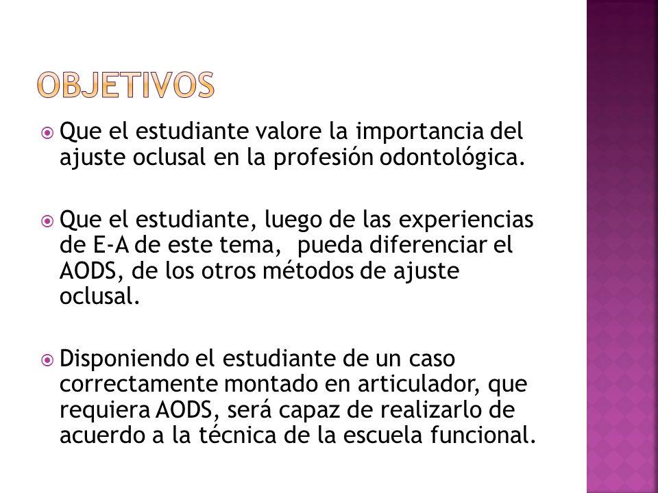 OBJETIVOSQue el estudiante valore la importancia del ajuste oclusal en la profesión odontológica.