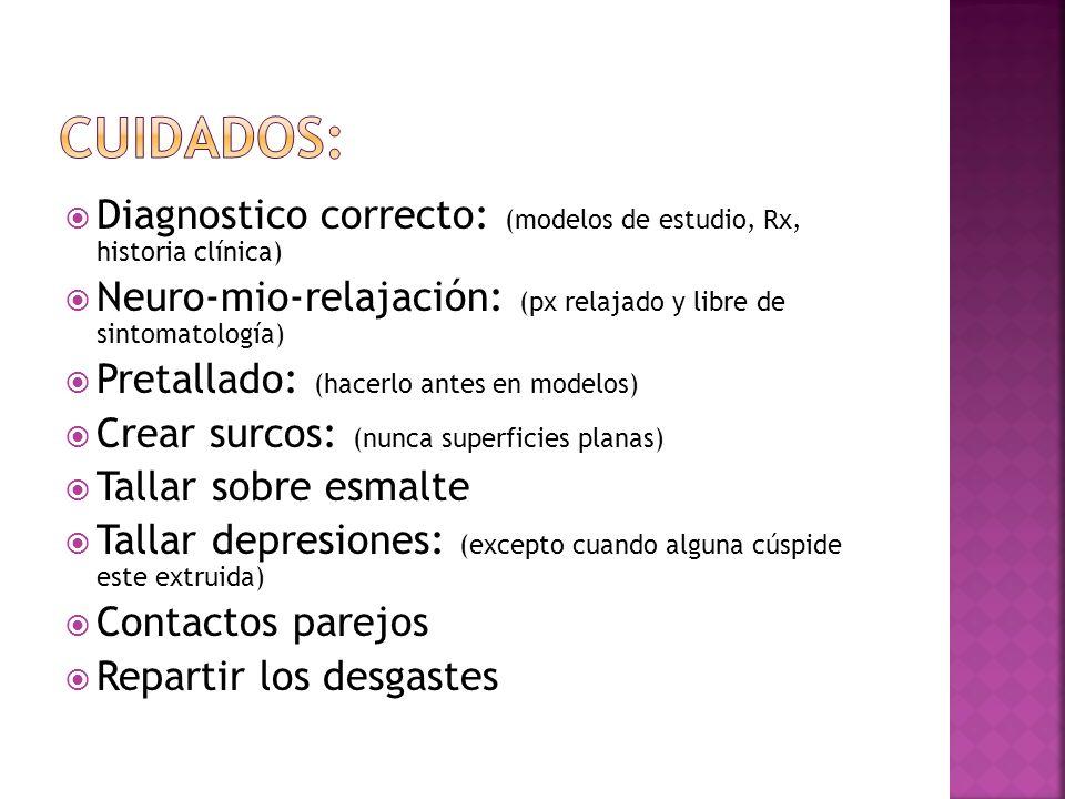 Cuidados:Diagnostico correcto: (modelos de estudio, Rx, historia clínica) Neuro-mio-relajación: (px relajado y libre de sintomatología)