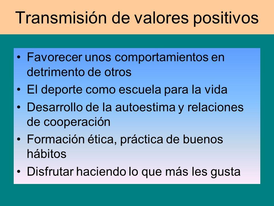 Transmisión de valores positivos