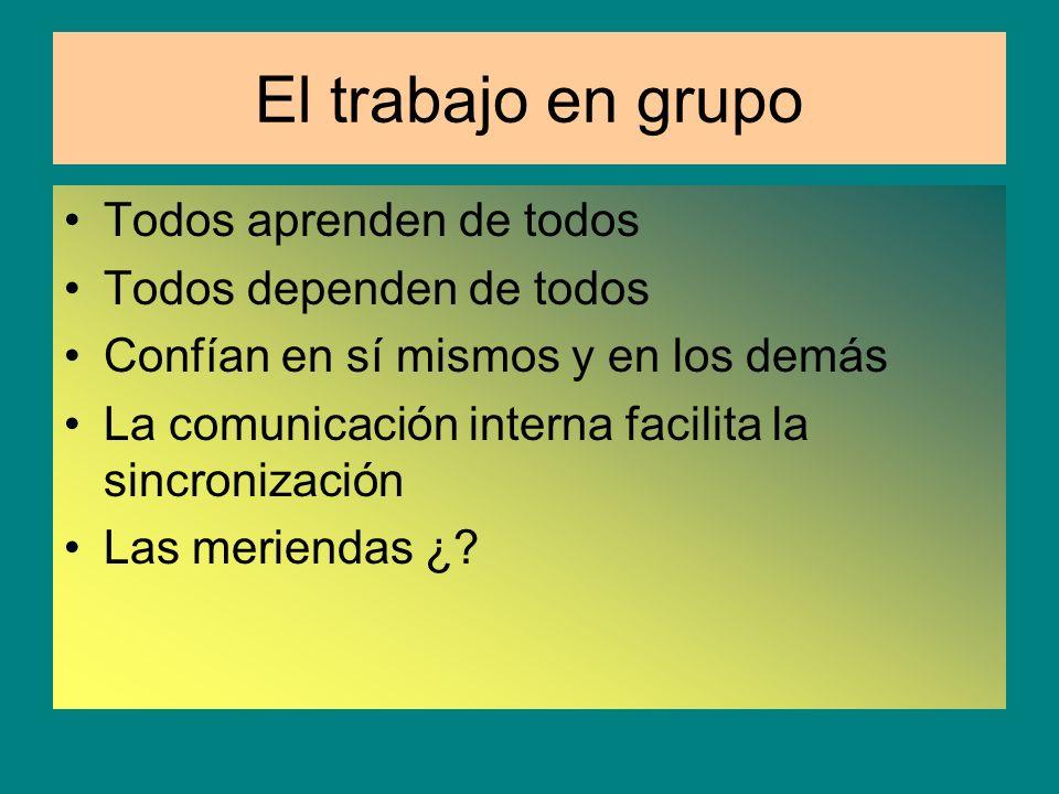 El trabajo en grupo Todos aprenden de todos Todos dependen de todos