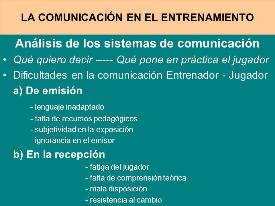 LA COMUNICACIÓN EN EL ENTRENAMIENTO
