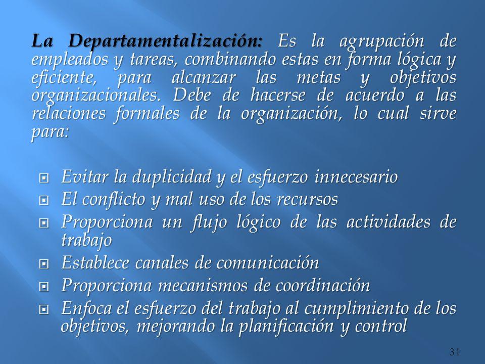 La Departamentalización: Es la agrupación de empleados y tareas, combinando estas en forma lógica y eficiente, para alcanzar las metas y objetivos organizacionales. Debe de hacerse de acuerdo a las relaciones formales de la organización, lo cual sirve para: