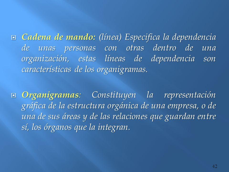 Cadena de mando: (línea) Especifica la dependencia de unas personas con otras dentro de una organización, estas líneas de dependencia son características de los organigramas.