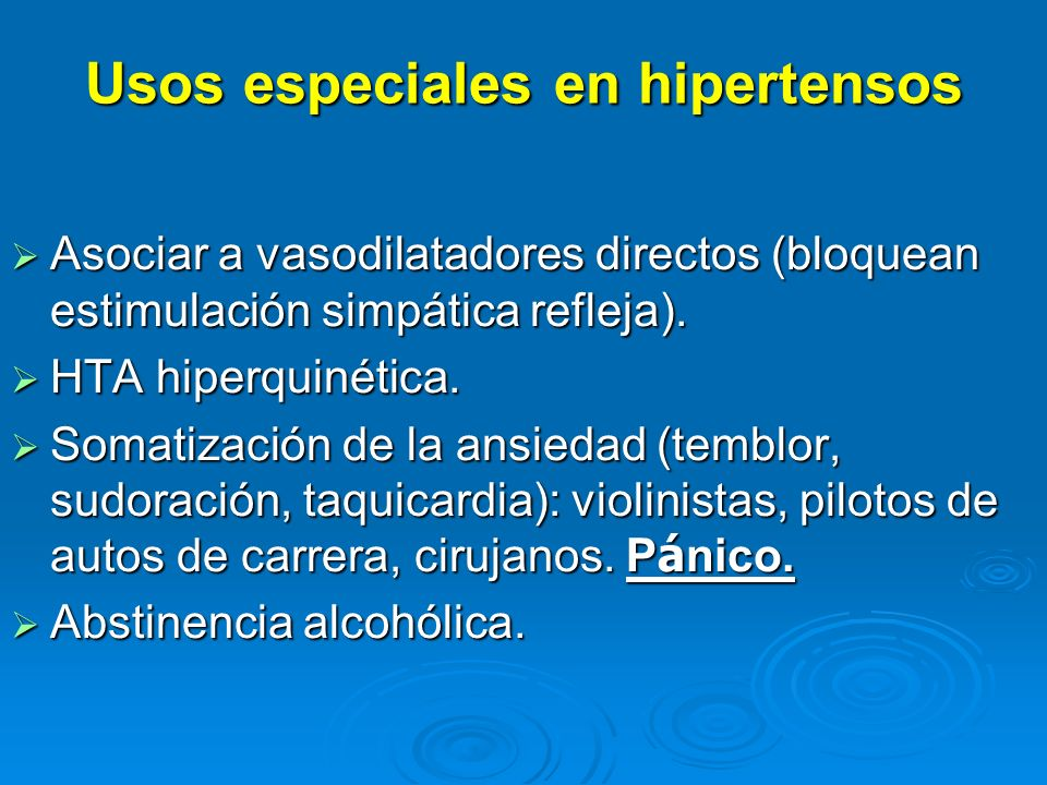 Usos especiales en hipertensos