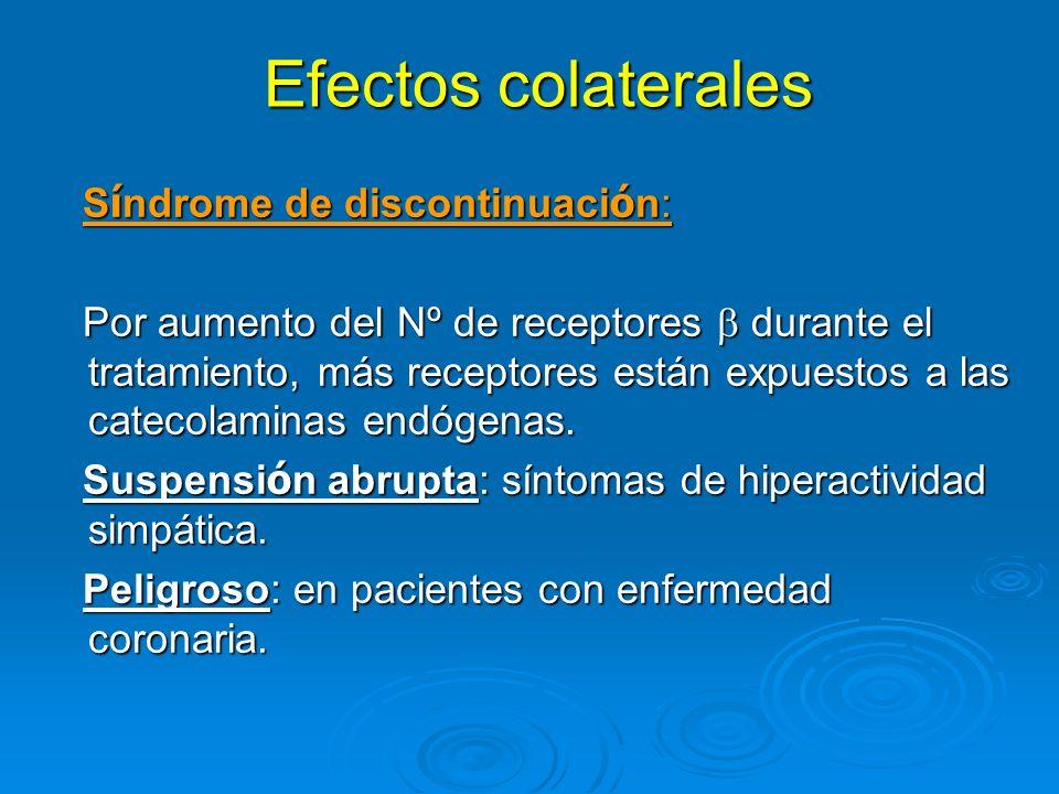 Efectos colaterales Síndrome de discontinuación: