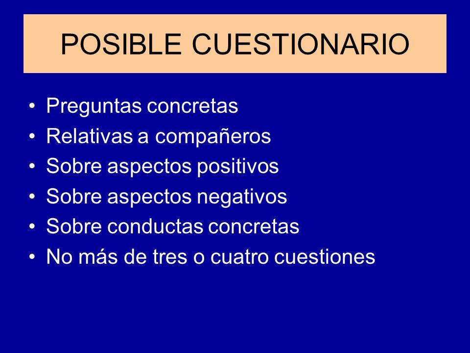 POSIBLE CUESTIONARIO Preguntas concretas Relativas a compañeros