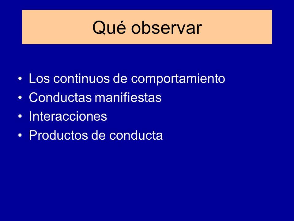 Qué observar Los continuos de comportamiento Conductas manifiestas
