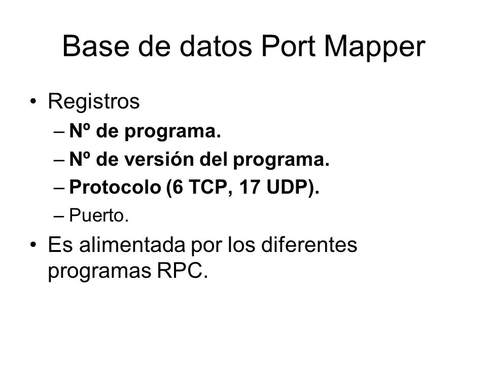 Base de datos Port Mapper