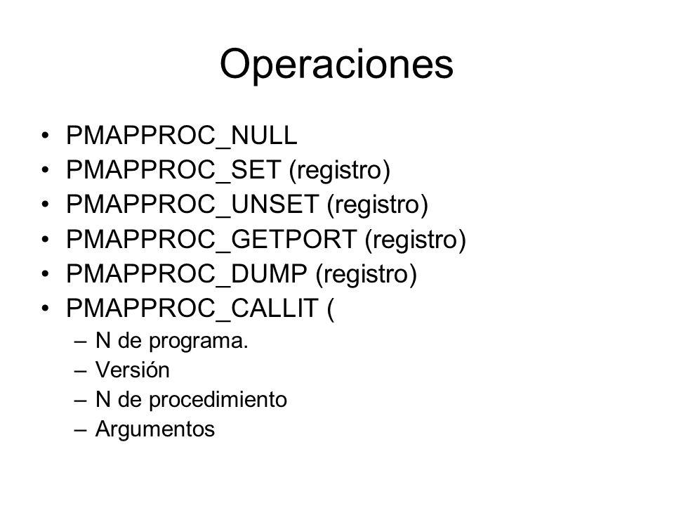 Operaciones PMAPPROC_NULL PMAPPROC_SET (registro)