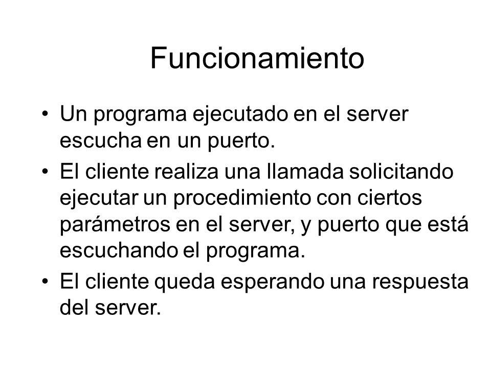 Funcionamiento Un programa ejecutado en el server escucha en un puerto.