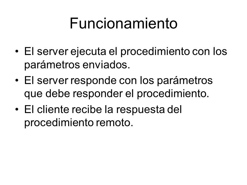 FuncionamientoEl server ejecuta el procedimiento con los parámetros enviados.