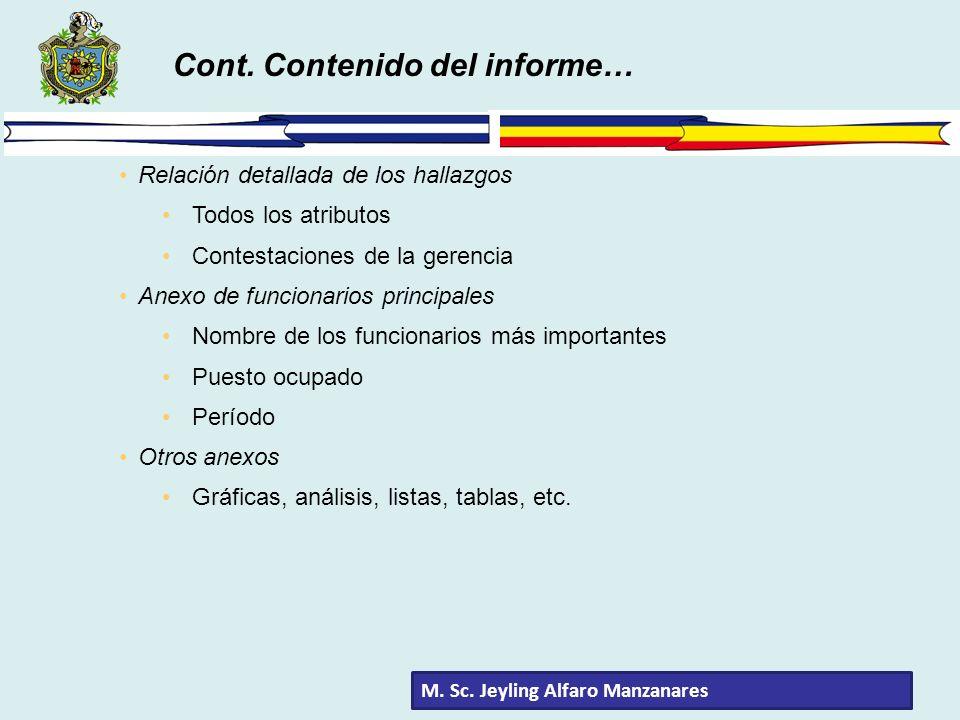 Cont. Contenido del informe…