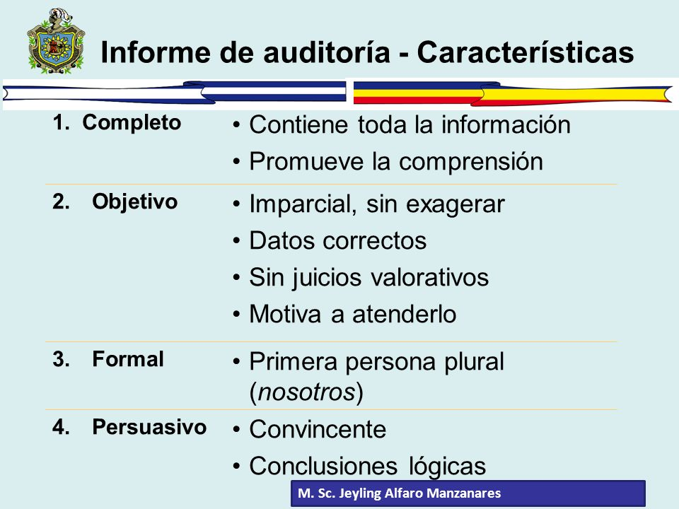 Informe de auditoría - Características