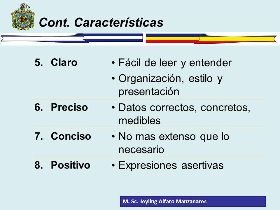 Cont. Características Fácil de leer y entender