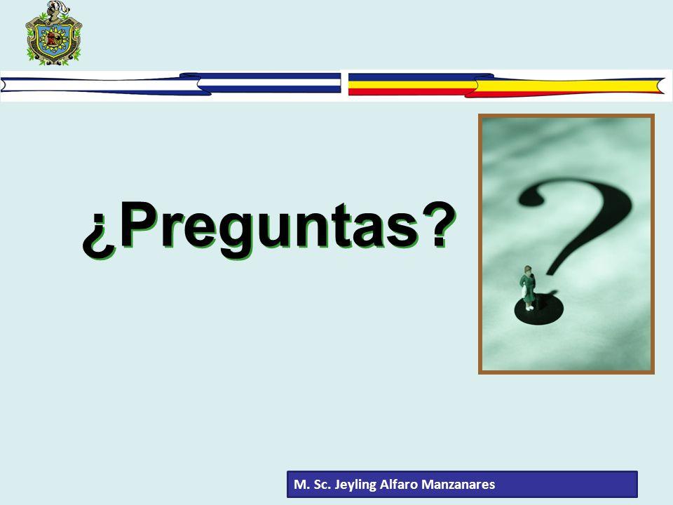 ¿Preguntas M. Sc. Jeyling Alfaro Manzanares