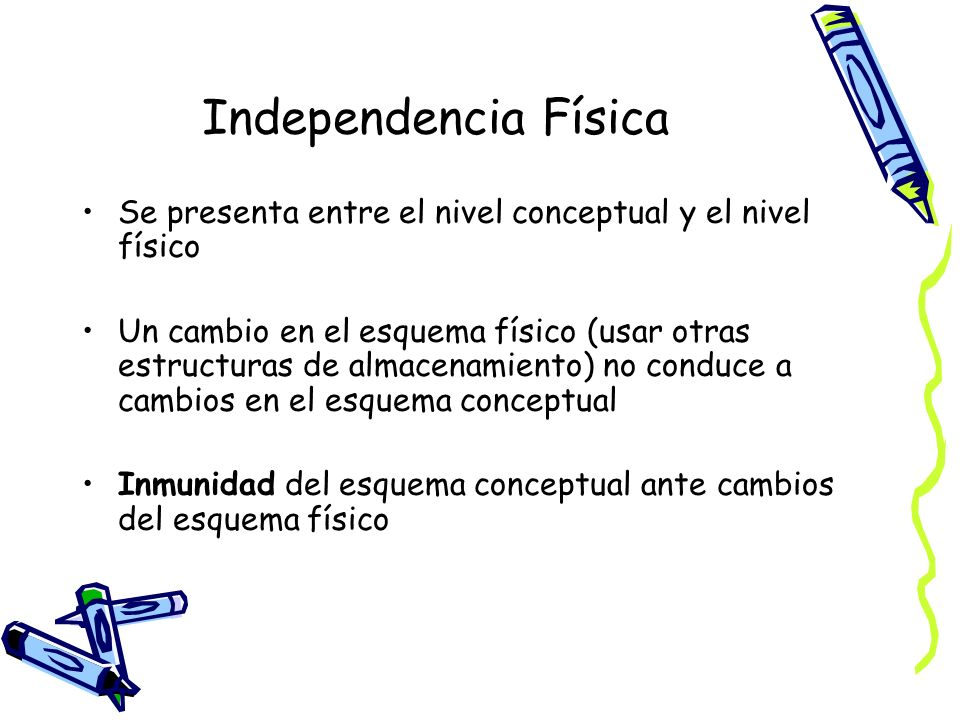 Independencia Física Se presenta entre el nivel conceptual y el nivel físico.