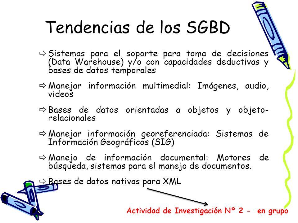 Tendencias de los SGBDSistemas para el soporte para toma de decisiones (Data Warehouse) y/o con capacidades deductivas y bases de datos temporales.