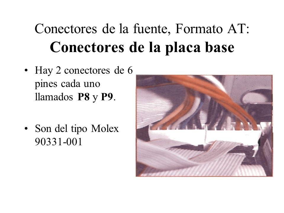Conectores de la fuente, Formato AT: Conectores de la placa base