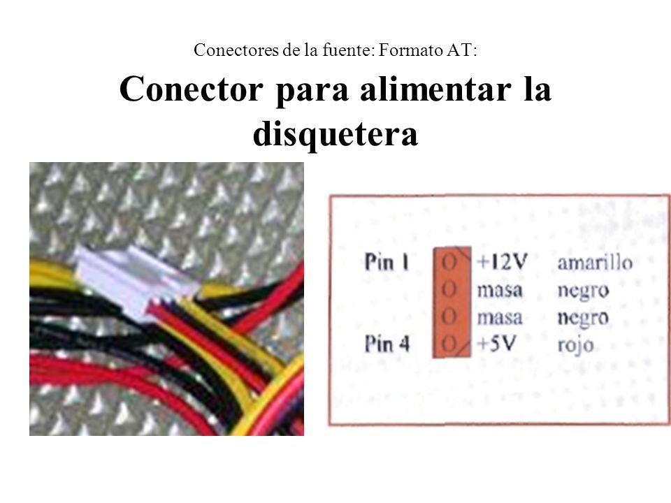 Conectores de la fuente: Formato AT: Conector para alimentar la disquetera