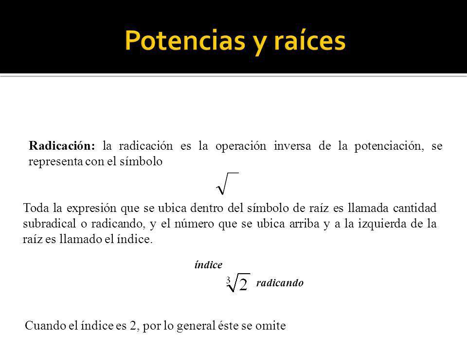 Potencias y raíces Radicación: la radicación es la operación inversa de la potenciación, se representa con el símbolo.