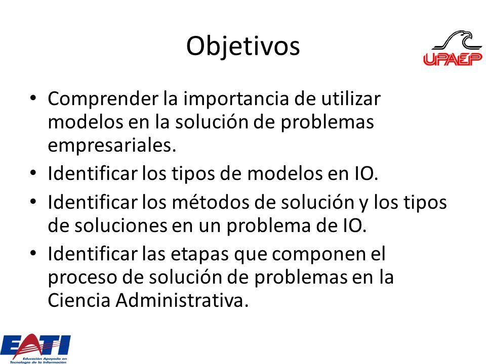 Objetivos Comprender la importancia de utilizar modelos en la solución de problemas empresariales. Identificar los tipos de modelos en IO.