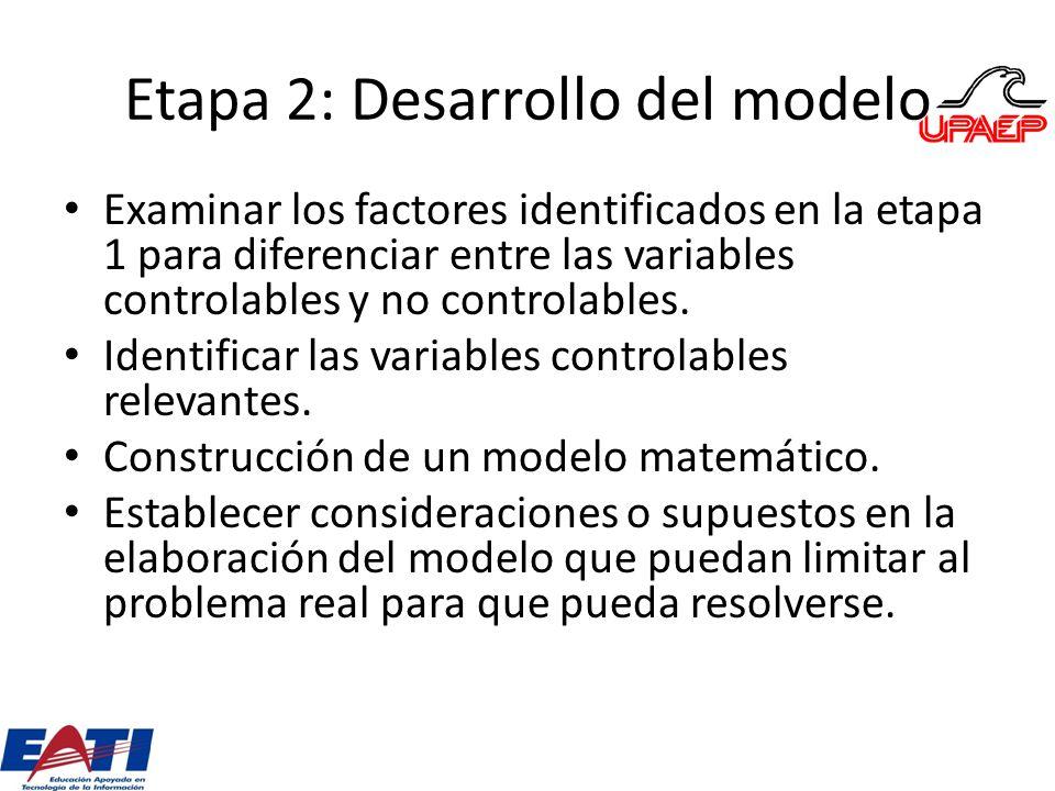 Etapa 2: Desarrollo del modelo