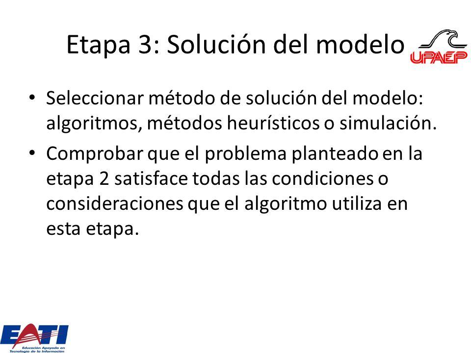 Etapa 3: Solución del modelo
