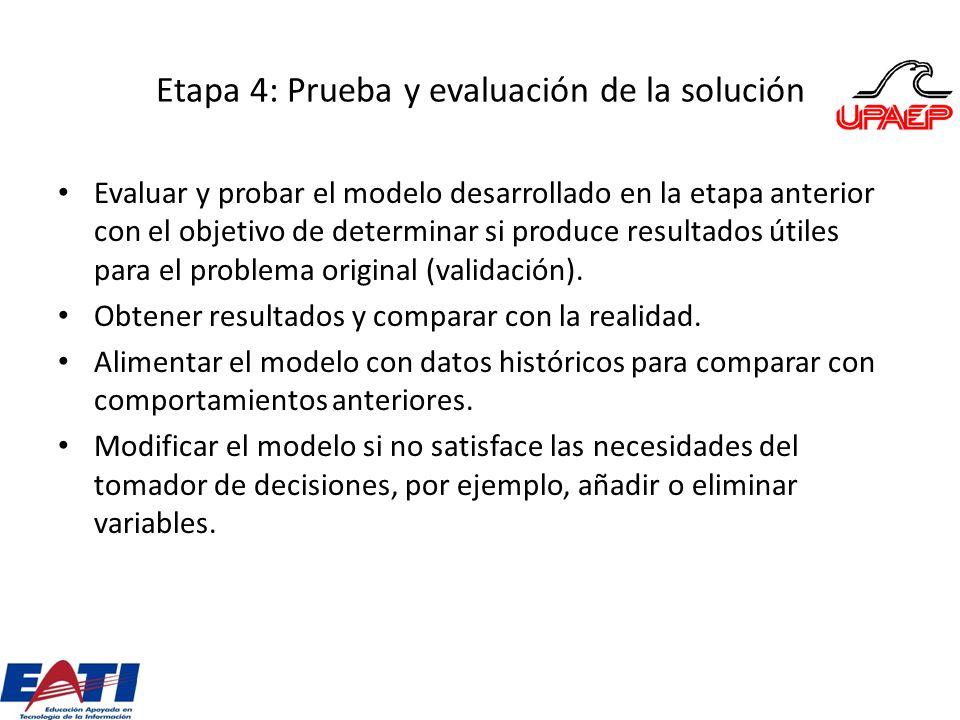 Etapa 4: Prueba y evaluación de la solución